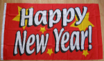 Happy New Year Large Flag - 5' x 3'.